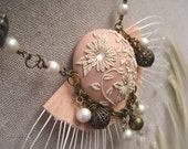 Moobie Grace - Polymer Clay Necklace - Tribal - Feather Necklace - Boho - Bohemian - Embroidered - Feather - Free Shipping