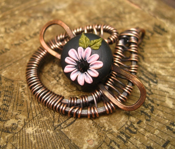 Moobie Grace - Polymer Clay - Floral - Toggle Clasp - Artisan - Copper Wrapped