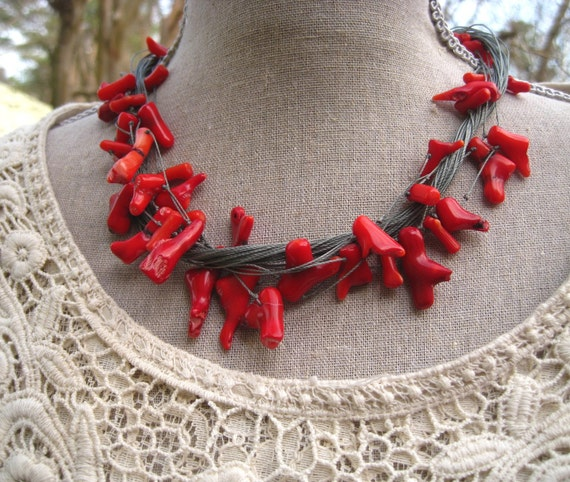 Coral Jewelry - Coral Necklace - Bohemian Jewelry - Bohemian Necklace - Western - Western Chic - Free Shipping