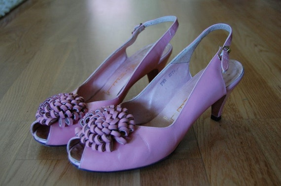 1950s Kimel Open Toe Heels // Decorative Toe Decor  // Slingbacks // Girly Pink Leather - Size 7.5
