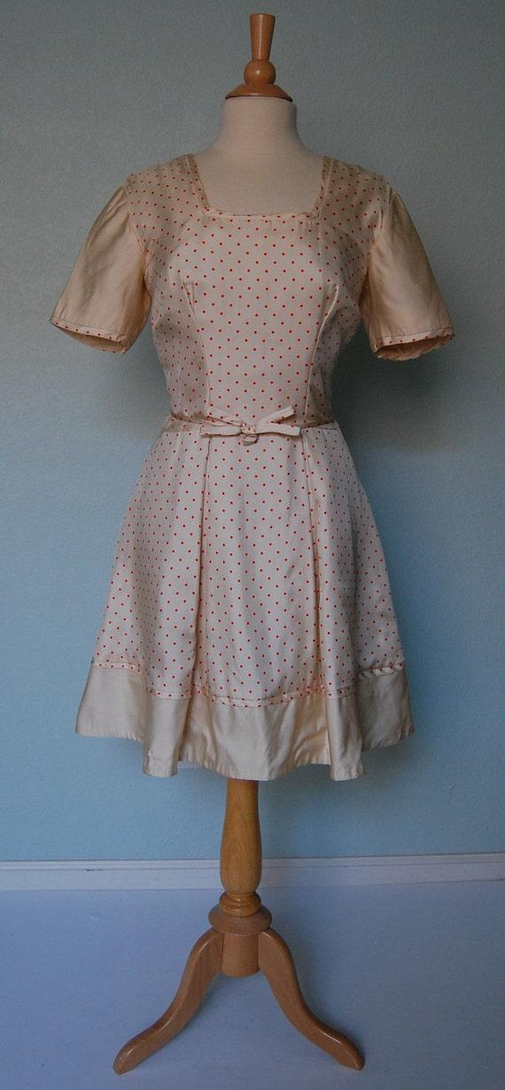 RESERVED50s Maxwell Shieff Silk Twill Dress - Polka Dots - Party Wear