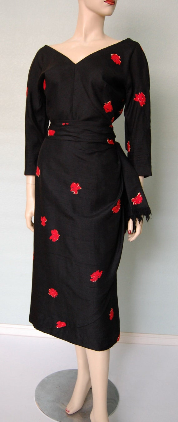 RESERVED50s Silk Print Cocktail Dress with Sarong Style Skirt - Decorative Pleating - Swag