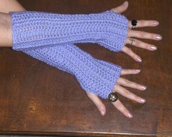 Long Arm Warmers Victorian elegant Fingerless Gloves Lavender Light Purple Lavender Handmade Crocheted  Boho Chic shabby flapper long gloves