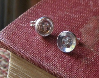 Cute As A Button Sterling Silver Button earrings Lost wax Cast Earrings