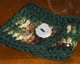 Woodland Forest. boho indie Handmade Crocheted Coffee Cup Cozy with Deer Antler Button