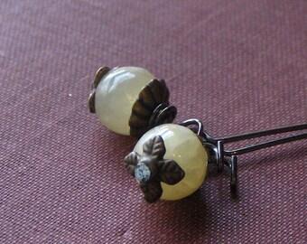 Luminary. Rustic Citrine Sphere & brass dangle boho Earrings