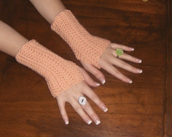 Peach Cobbler fingerless Texting Gloves. Handmade Crochet Arm Warmers Fingerless Mittens Texting Gloves  Peach short length. Boho Gloves.