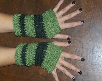 The Forest Dweller Fingerless Gloves. Crochet Wrist Warmers Tea Leaf & Forest Green Striped Crocheted Bohemian Victorian Rustic Handmade