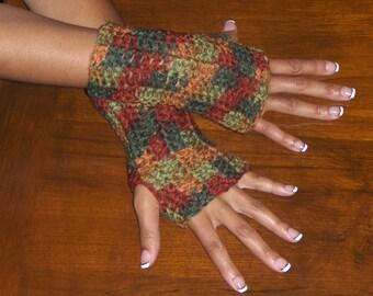 The Fall Arm Warmers Fingerless crochet Gloves Autumn Handmade Crochet Gloves Smoking Driving writing Gloves Autumn Handmade rustic Simple
