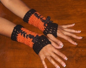Arm Warmers Fingerless Gloves The Sleepy Hollow Gloves. Hand crocheted autumn Boho Lace Up handmade Crochet Gothic Victorian style Corset