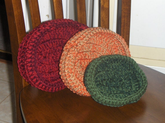 Bountiful Harvest Crochet Rustic Earthy Set of 3 Fall Autumn Oval Handmade Crocheted Primitive Nesting Decorative Shelf Bowls Shabby country