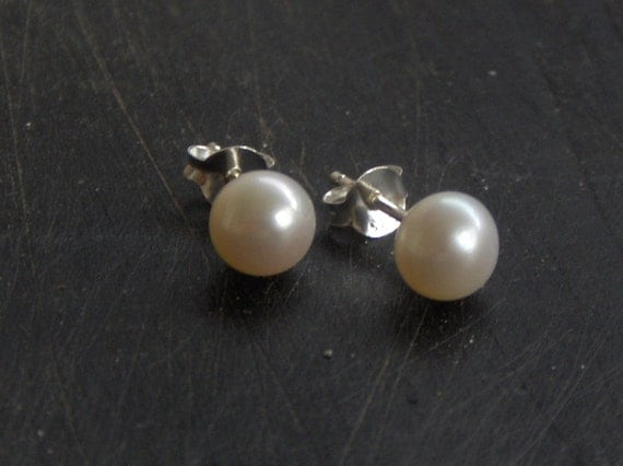 Pure White Purity  Genuine Freshwater Pearl and Sterling Silver Simple Studs