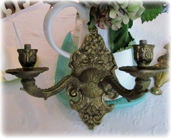 Vintage Brass Wall Electric Fixtures Set of  Two
