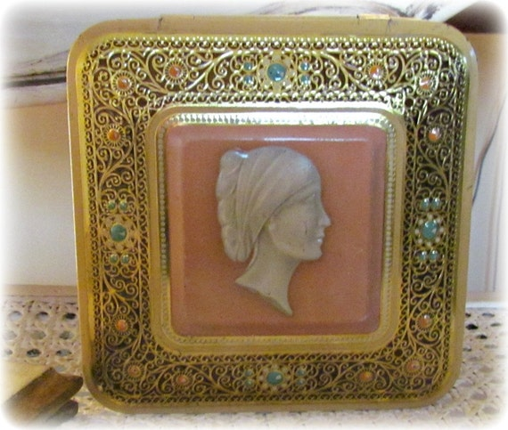 Vintage Cameo Tin Box