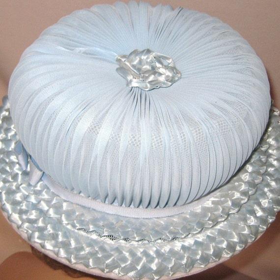 Ladies Vintage Powder Blue Hat