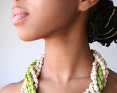 Green and Beige Torchon Necklace