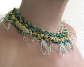 Turquoise and Acai, Wool and Silk Macrame Necklace