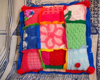 Brightly Colored Pillow * Bright * Festive * Bright Colors * Fabrics  and Vintage Chenille *  50's Chenille Pieces  * Patchwork