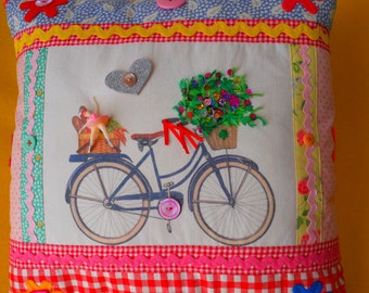 Appliqued Decorated Embroidered Printed Pillow with Bicycle Ballerina and Flower Basket * Country Cottage