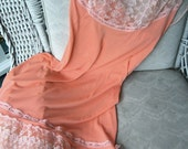 Vintage Peach Slip with Lace Bodice and Hem