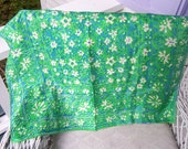 SALE Vintage Silk Green and Blue Scarf by VERA in Mint Condition