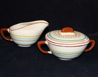 "Retro Walter Dorwin Teague designed ""Conversation"" Striped Ceramic Cream and Sugar"