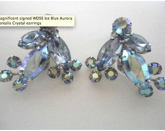 Weiss Light Blue Rhinestone Clip-on Earrings 1950s