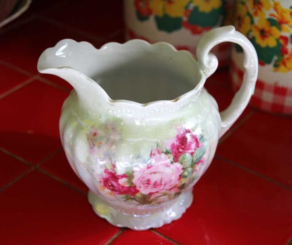 Early 1900s Shabby Chic Greiner and Herda German Porcelain Pitcher Handpainted with Roses
