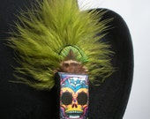 Skull green parrot and peacock feather clip