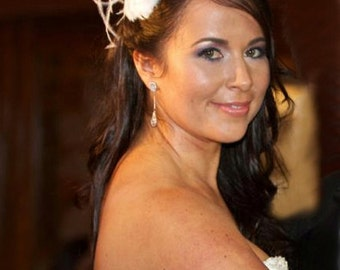 Feather Pillow Bridal Fascinator Clip
