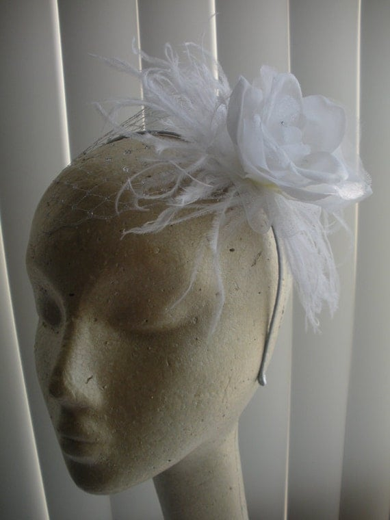 Snow White and Silver Flower Feather Headband
