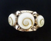 Sterling Silver Shiva Eye Ring - Handmade Silver Cats Eye Ring - Made to Order - Custom Made White Shell Statement Ring