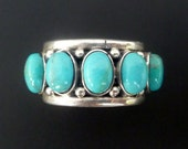 Handmade Silver Turquoise Adjustable Ring - Sterling Silver and Turquoise Ring - Blue Turquoise Unisex Ring - Custom Made Ring