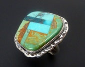 Sterling Silver and Turquoise Inlay Ring - Handmade Geometric Silver Turquoise Ring - Turquoise Statement Ring Size 8.5