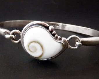 Sterling silver and shiva eye bracelet - Handmade Silver Shell Bangle - Custom Made White Shell Sterling Bracelet