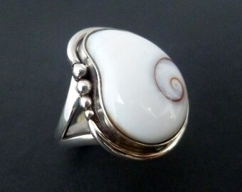 Sterling Silver and Shiva Eye Ring - Handmade Silver Shell Ring - Shiva Eye Silver Statement Ring - Made to Order