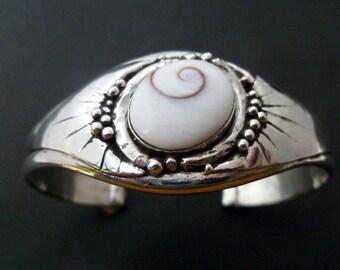 Handmade Silver Cuff - Sterling Silver Shiva Eye Cuff Bracelet - Made to Order Shell Bangle - Custom Made Silver Cuff
