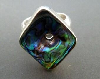 Sterling Silver Paua Shell Ring - Handmade Square Paua Shell Ring - Made to Order - Sterling Silver Ring