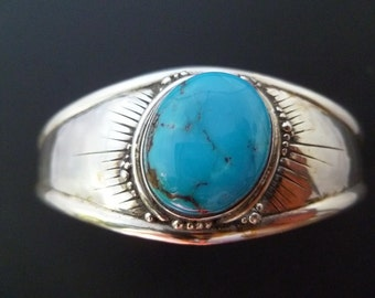 Silver Turquoise Cuff Bracelet - Handmade Turquoise and Sterling Silver Cuff - Custom Made Turquoise Cuff - Made to Order