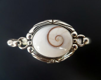 Sterling Silver Shell Bracelet - Handmade Silver Shiva Eye Bangle - Custom Made Bracelet