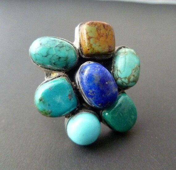 Turquoise Flower Ring - Sterling Silver Statement Ring - Blue Green Cocktail Ring - Turquoise Statement Ring Size 7