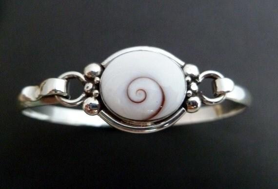 Shiva Eye Silver Bracelet - Handmade Sterling Silver Bangle -White Shell Bangle - Made to Order