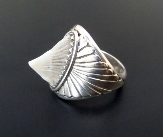 Sterling Silver Stingray Ring - Handmade Silver Ring with Stingray - Custom Made - Sterling Spiked Statement Ring
