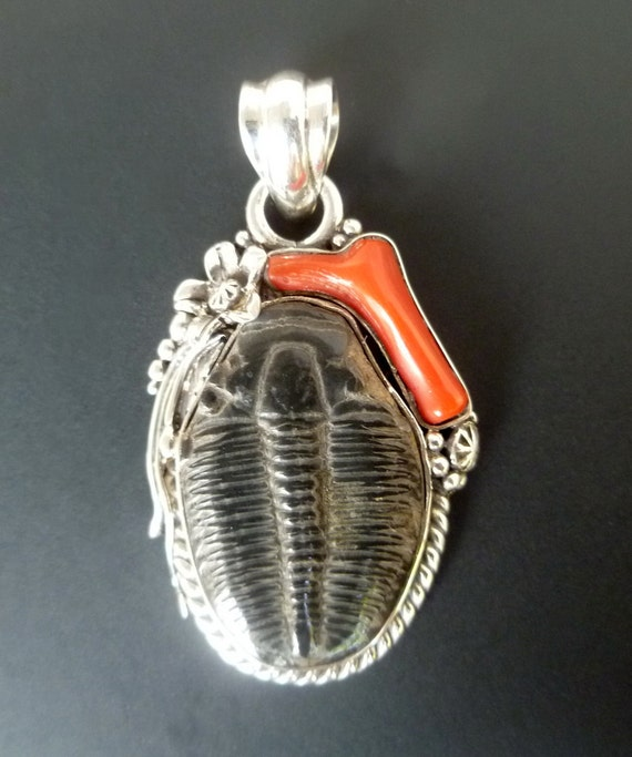 Handmade Sterling Silver, Red Coral and Trilobite Pendant - Silver Fossil Pendant