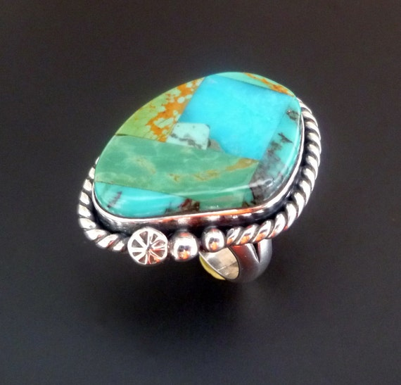 Handmade Sterling Silver and Turquoise Inlay Ring - OOAK Silver Ring with Turquoise Inlay - Size 8 - Silver Turquoise Statement Ring -
