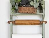 Wooden Shabby Sage Shelf Paper Towel Holder RESERVED