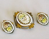 Brooch and Earring Set Miriam Haskell Signed Costume Jewelry with Clip Earrings