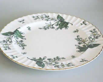 English Bone China Round Platter Chop Plate Royal Worcester Valencia Pattern Vintage 50s