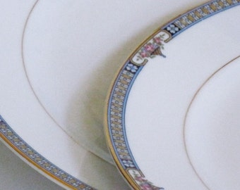 China Dinner Plates Noritake The Basel Pattern ca1921 Set of Two Art Deco Style Pattern