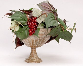 Silk Arrangement Green Pothos and Fruit in Metal Compote Small Side Table Arrangement Handmade by OlliesFineThings